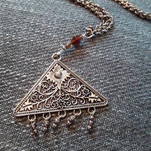 Ornate silver tone pendant w. Small beads